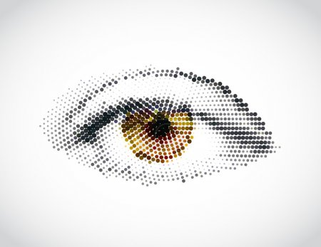 Illustration for Abstract woman yellow eye made from dots. Vector illustration - Royalty Free Image