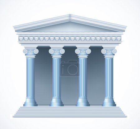Front view of an antique greek blue temple. Vector