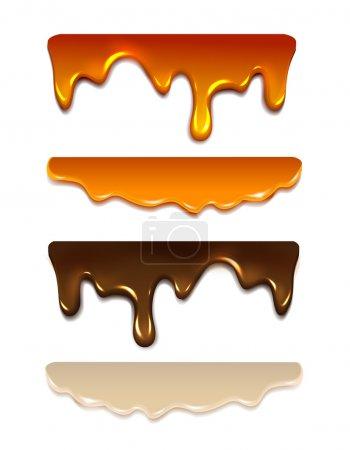 Set Melting chocolate, milk cream, liquid caramel, honey. Vector