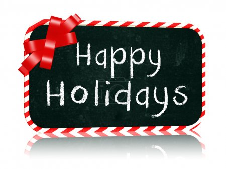 Photo for Hand-written with chalk text - Happy Holidays on blackboard banner with red ribbon - Royalty Free Image