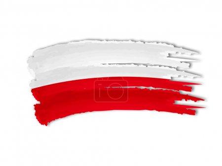 Photo pour Illustration de main isolé dessiné le drapeau polonais - image libre de droit