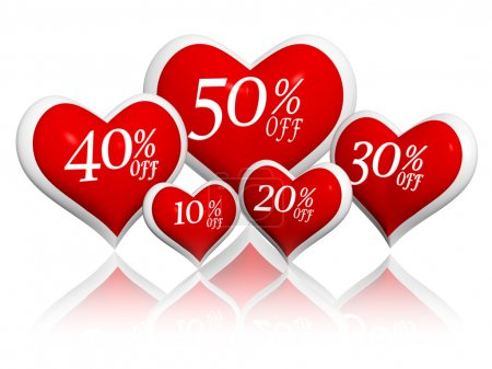 Photo for Different percentages off rebate in 3d red hearts banners, valentines day sale seasonal business concept - Royalty Free Image