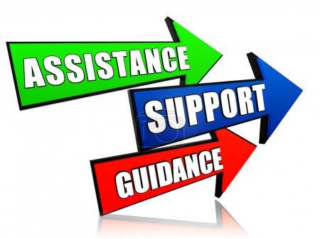 Photo pour Aide, soutien, orientation - texte en 3d flèches, concept de mots d'affaires - image libre de droit