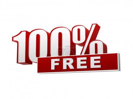 Photo pour Les 100 pourcentages texte gratuitement 3d bannière blanc rouge, lettres et bloc, concept d'entreprise - image libre de droit
