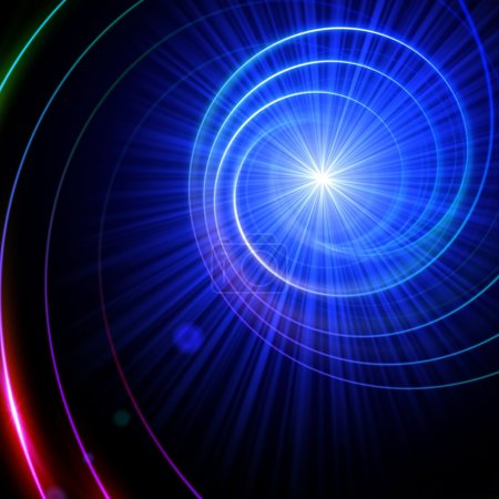 Foto de Espiral abstracto con destello de lente luz sobre negro - Imagen libre de derechos
