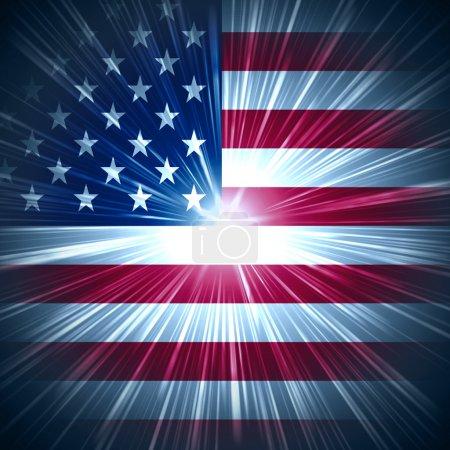 Photo pour Fond abstrait drapeau des États-Unis avec des rayons lumineux - image libre de droit