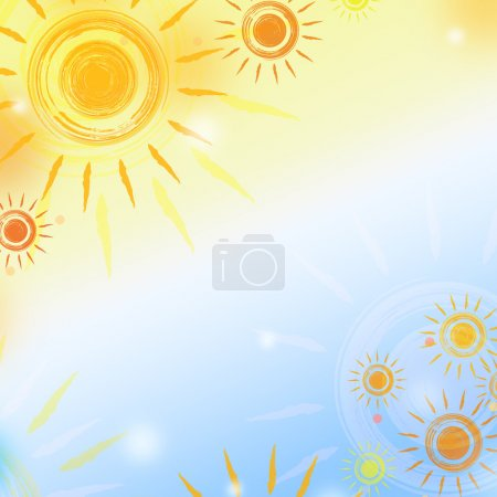 Photo for Abstract background - paint suns over gradient - Royalty Free Image