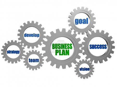 Photo pour Plan d'affaires - mots concept entreprise en 3d argent gris roues dentées - image libre de droit