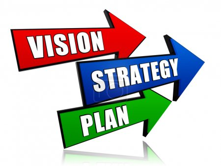 Photo pour Vision, stratégie, plan - texte en 3d flèches rouges, bleus et verts - image libre de droit