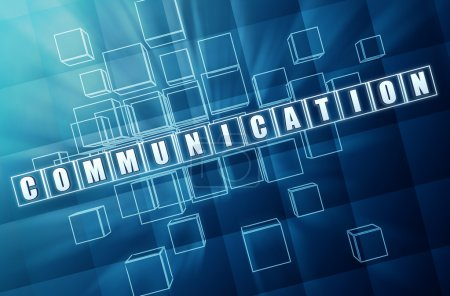 Photo for Communication - text in 3d blue glass cubes with white letters, business concept - Royalty Free Image