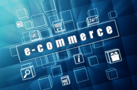 e-commerce and business signs in blue glass cubes