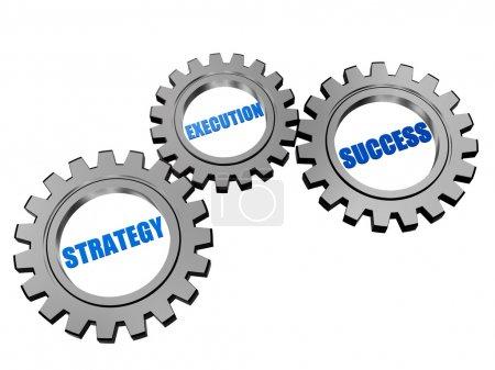 Photo pour Stratégie, l'exécution, succès - texte en 3d engrenages gris argent, mots concept entreprise - image libre de droit