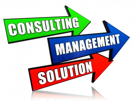 consulting, management, solution in arrows