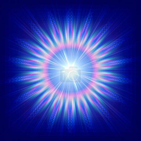 Photo pour Abstraite fleur colorée sur fond bleu avec des rayons - image libre de droit