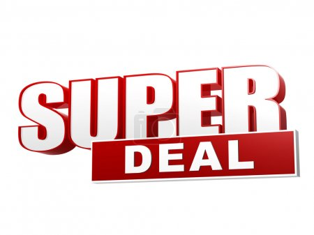 Photo for Text super deal - 3d red white banner, letters and block, business concept - Royalty Free Image