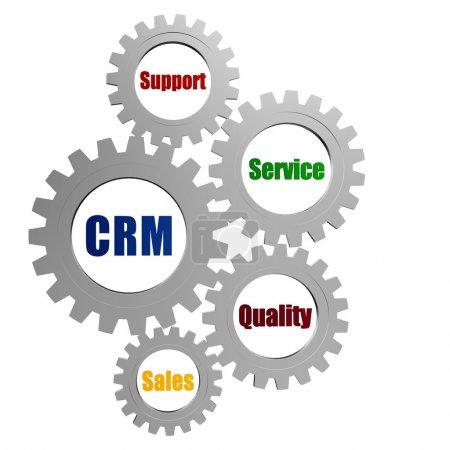 Photo pour CRM, support, service, qualité, ventes - mots en 3d engrenages gris argent, concept d'entreprise - gestion de la relation client - image libre de droit