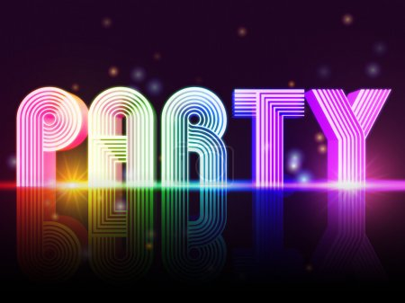 Photo for Party - retro poster with text and lights - Royalty Free Image