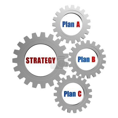 Photo pour Stratégie et plans - plan a, plan b, plan c - mots en 3d engrenages gris argent, concept d'entreprise - image libre de droit
