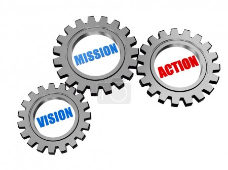 vision, mission, action in silver grey gears