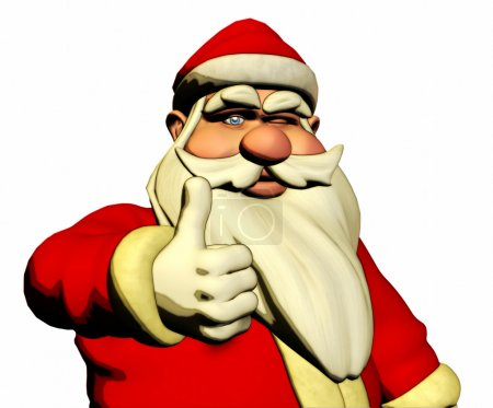 Santa Claus is wishing Good luck and wink