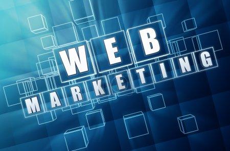 Photo pour Webmarketing - texte dans les zones de verre bleu 3d avec lettres blanches, concept d'entreprise internet - image libre de droit