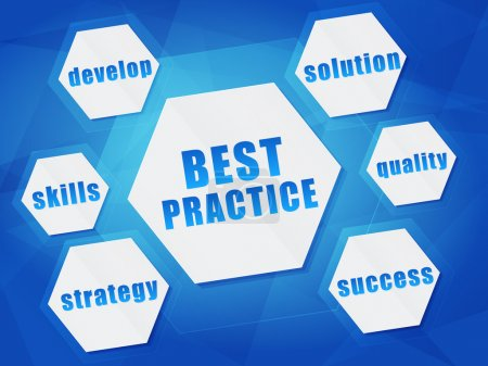Photo pour Meilleures pratiques et concepts d'affaires mots en hexagones sur fond bleu, design plat - image libre de droit