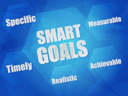 Photo pour Mots - spécifiques, mesurables, atteignables, réalistes, en temps opportun - concept objectifs Smart en hexagones sur fond bleu, modèle plat - image libre de droit