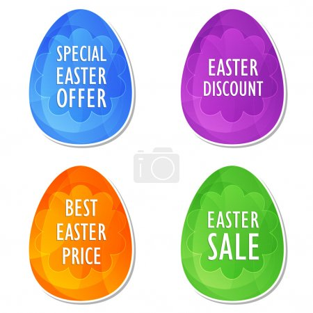 Photo for Easter sale, offer, discount and price banners - four colors eggs labels with spring daisy flowers, business shopping holiday concept, flat design - Royalty Free Image