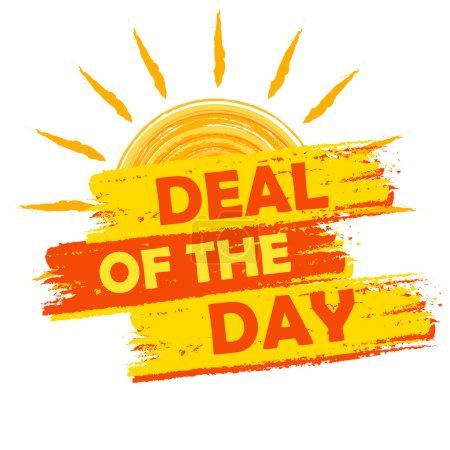 Photo pour Deal de l'été de la bannière de jour - texte dans une étiquette dessinée jaune et orange avec le symbole du soleil, concept de magasinage saisonnier commercial - image libre de droit