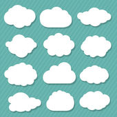 12 Cartoon Clouds Isolated On Blue Background Vector Illustration