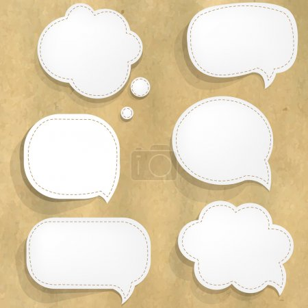 Cardboard Structure With White Paper Speech Bubbles