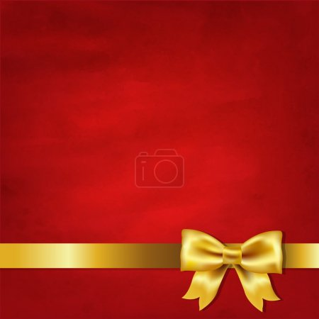 Illustration for Gold Satin Bow And Red Vintage Background With Gradient Mesh, Vector Illustration - Royalty Free Image