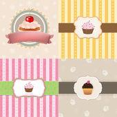 Vintage Cupcake Cards Set