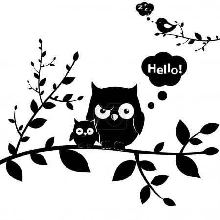Illustration for 2 Owls, Isolated On White Background, Vector Illustration - Royalty Free Image