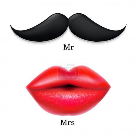 Illustration pour Moustaches avec lèvres, avec maille dégradée, illustration vectorielle - image libre de droit
