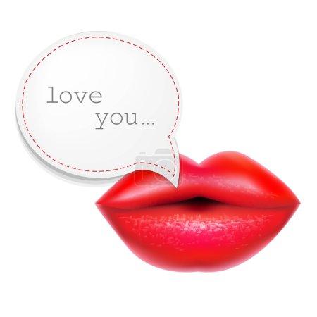 Illustration pour Lèvres rouges avec bulle vocale, avec maille dégradée, Illustration vectorielle - image libre de droit