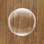 Retro Wooden Background With Glass Ball