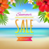 Summer Sale Card With Gradient Mesh Illustration