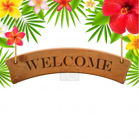 Illustration for Wood Sign Welcome Banner, With Gradient Mesh, Vector Illustration - Royalty Free Image