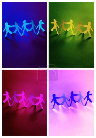 Collage of a group of paper people holding hands. Teamwork conce
