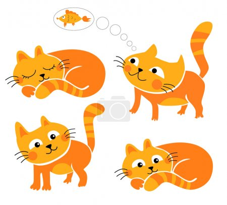 Photo for Illustrations of cheerful red kittens vector drawing - Royalty Free Image