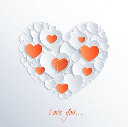 Photo for Card with hearts from paper about love. - Royalty Free Image