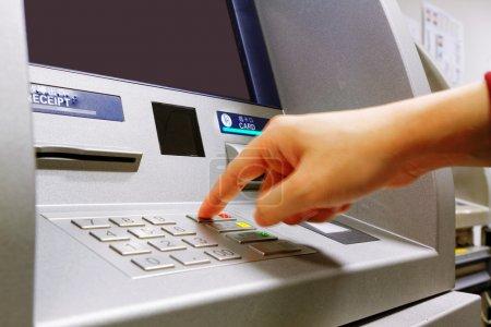 Press cancel button on ATM keypad