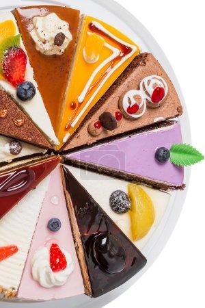 Photo pour Plus de la moitié du lot de gâteau blanc. gros plan vue de dessus - image libre de droit