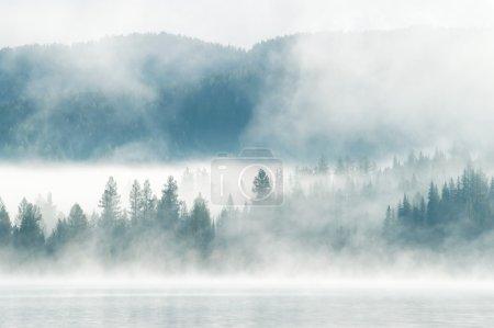 Photo pour Brouillard épais tôt le matin sur un lak de montagne - image libre de droit