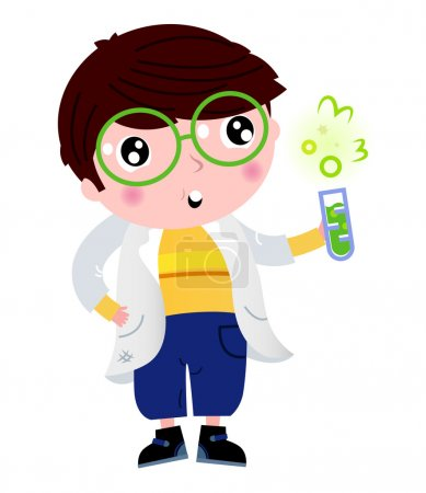 Little scientist holding laboratory flask isolated on white
