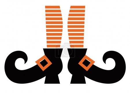 Illustration pour Jambes de sorcière rayées orange. Illustration de dessin animé vectoriel - image libre de droit