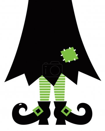 Illustration for Halloween's witch. Green striped legs, skirt and boots. - Royalty Free Image