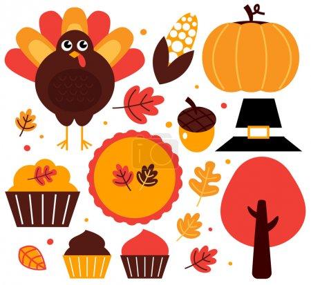 Illustration pour Ensemble d'articles de Thanksgiving. Illustration vectorielle - image libre de droit