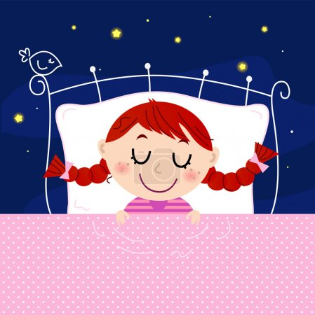 Illustration for Sleeping sweet girl. Vector cartoon Illustration - Royalty Free Image